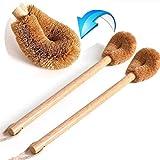 WC-Bürste aus Holz(2 Pack), Bürstenkopf aus Natürlichen Kokosfasern, Holz Toilettenbürste ideal...