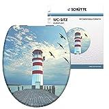SCHÜTTE Sitz Duroplast Lighthouse, Toilettensitz mit Absenkautomatik, passend für alle...